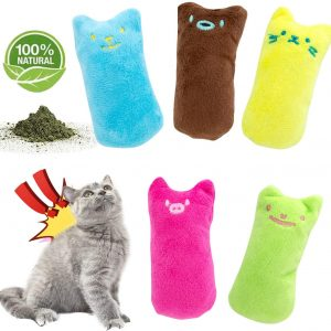 5 Jouets en peluche avec herbe à chat pour chat d'intérieur