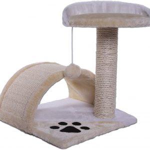 Arbre à chat avec Griffoir et Centre d'Activités Beige et Blanc