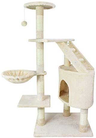 Arbre à chat beige avec 5 perchoirs en velours 120 cm pour chat d'appartement