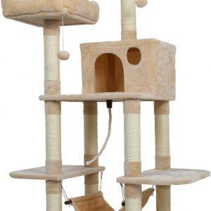 Arbre à chat beige avec double plateforme et Hamac 150cm