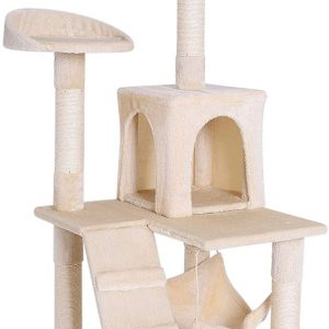 Arbre à chat beige avec Griffoir et centre d'Activités 133 cm