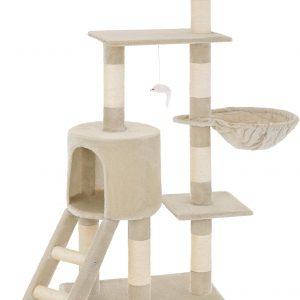 Arbre à chat beige avec griffoir et grattoir échelle 1 niche et 1 hamac