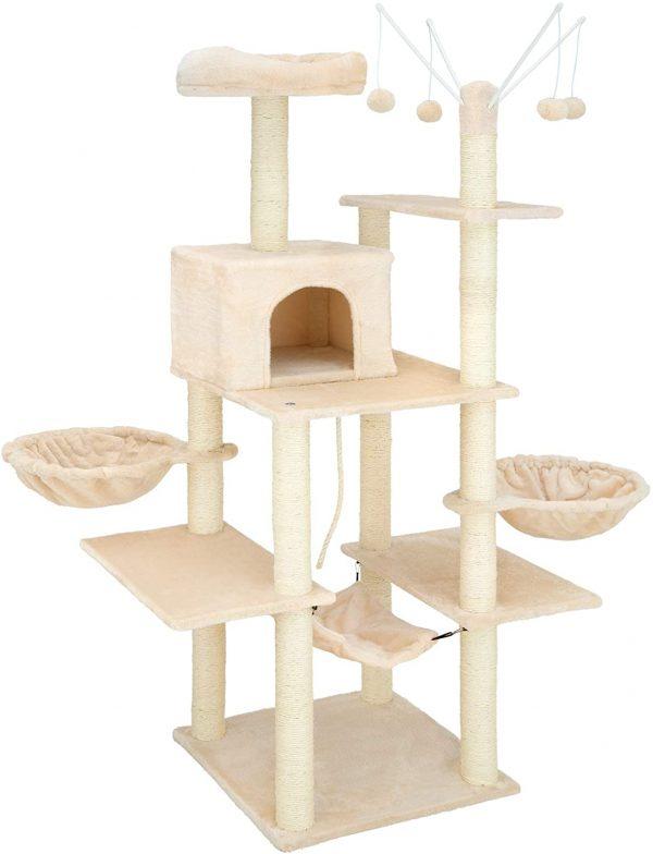 Arbre à chat beige avec hamac et griffoir grattoir en sisal balles suspendues 165cm