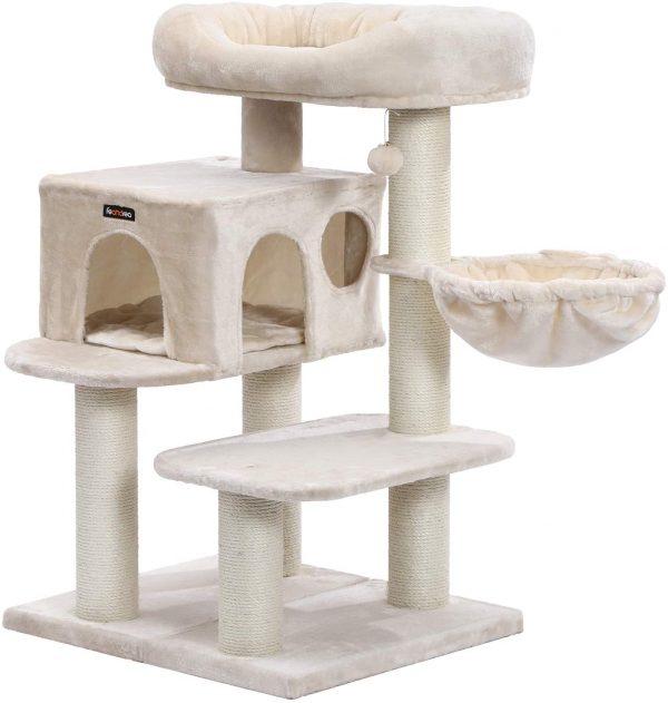 Arbre à chat beige avec plate-forme d'observation Hamac et troncs en sisal