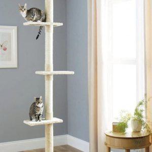 Arbre à chat beige avec tour Griffoir 3 étagères en bois