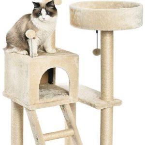 Arbre à chat Beige en forme de tour avec abri et double plateforme taille L