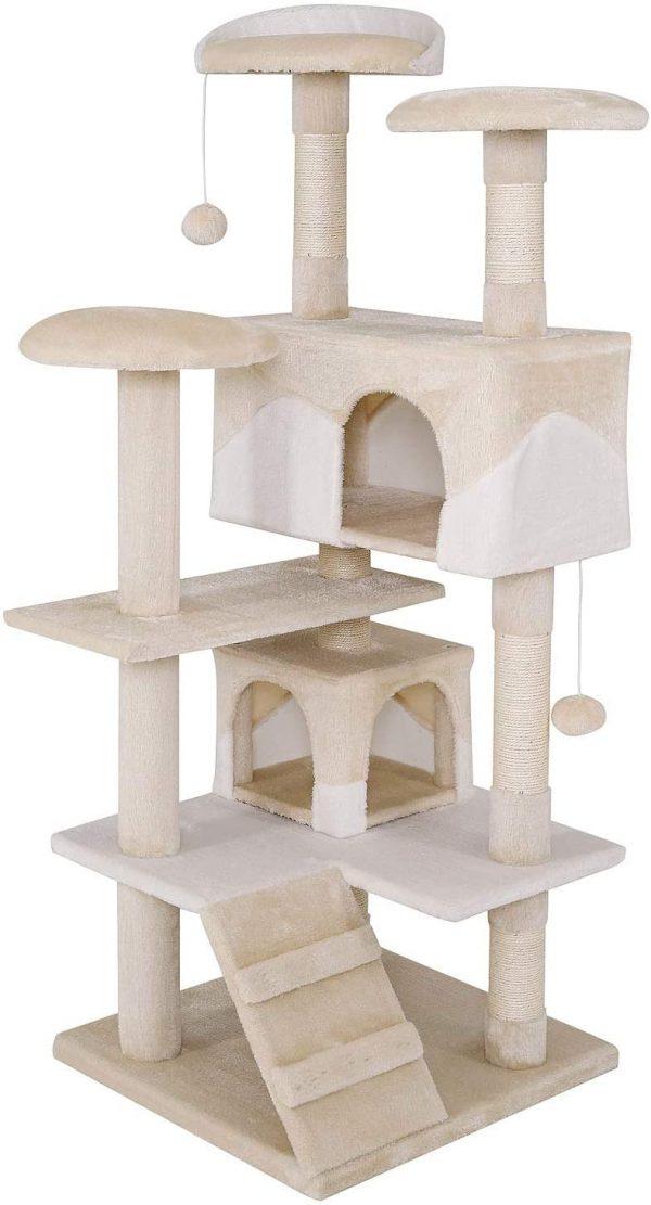 Arbre à chat Beige/Blanc avec griffoir 130 cm