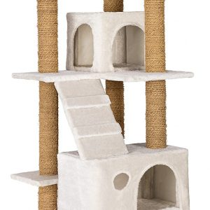 Arbre à chat blanc Griffoir en corde de coco 2 niches et 3 plate-formes 169 cm