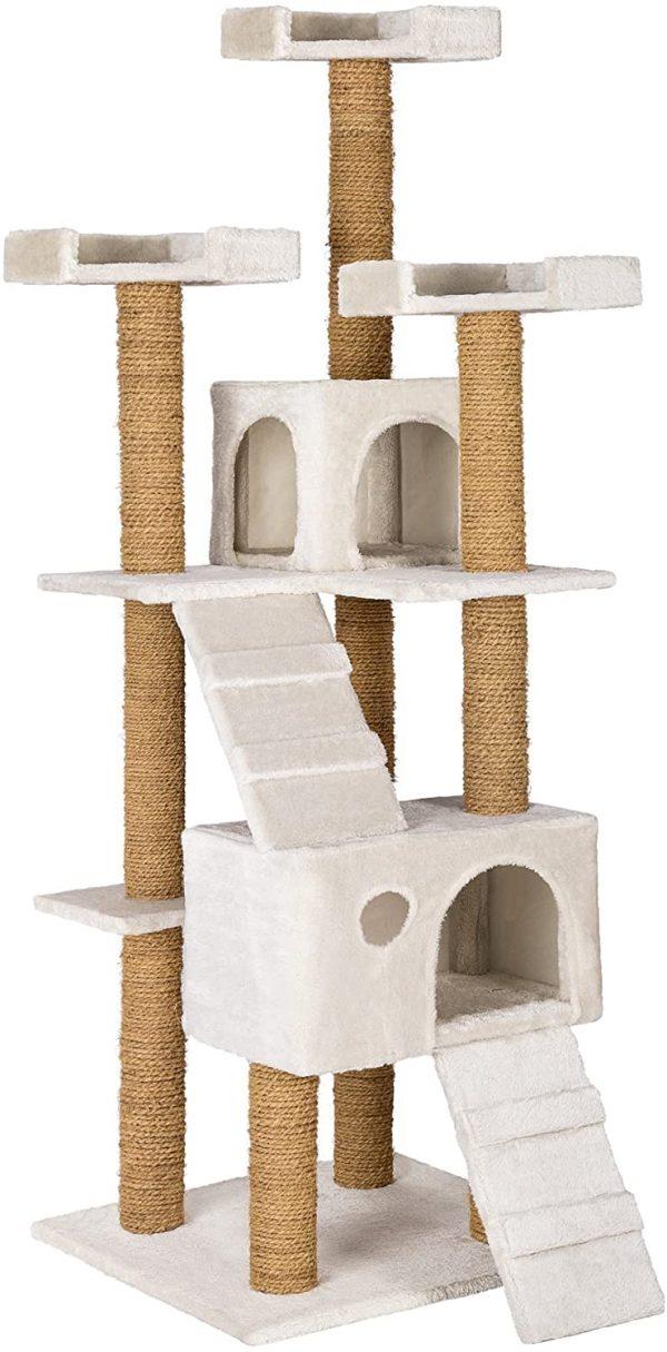 Arbre à chat blanc Griffoir en corde de coco 2 niches et 3 plate-formes 169 cm