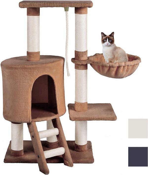 Arbre à chat d'escalade design brun en Peluche Sisal avec Hamac 96cm