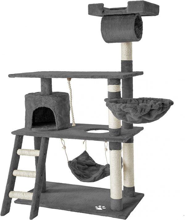 Arbre à chat géant gris grattoir griffoir et Centre d'activités 141cm