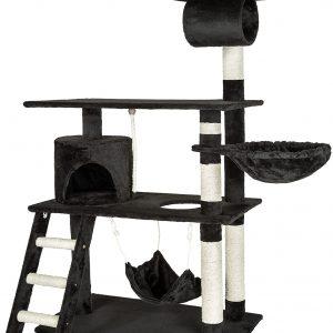 Arbre à chat géant Noir grattoir griffoir et Centre d'activités 141cm