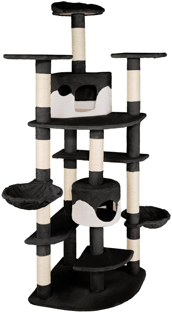 Arbre à chat géant XXL noir-blanc avec 2 niches 204 cm de haut