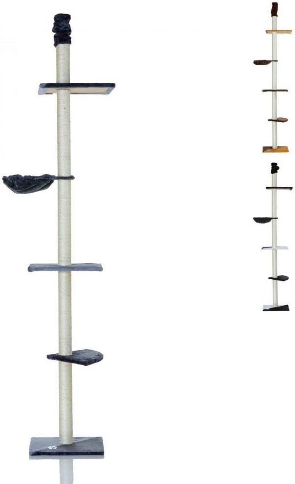 Arbre à chat gris argent avec griffoir Hauteur 240-270 cm
