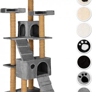 Arbre à chat gris avec Griffoir en fibre de coco 169 cm 2 Grottes 3 Plateformes
