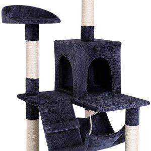 Arbre à chat gris avec griffoir et centre d'activités 133 cm