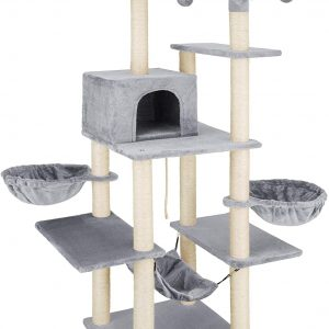 Arbre à chat gris avec hamac et 4 balles de Jeu 165cm