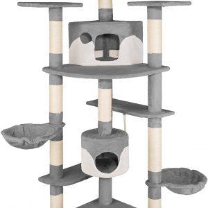 Arbre à chat gris-blanc avec griffoir 201 cm