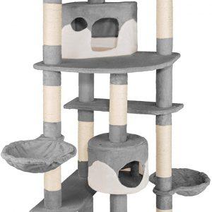 Arbre à chat gris-blanc géant 2 niches XXL pour plusieurs chats 204cm