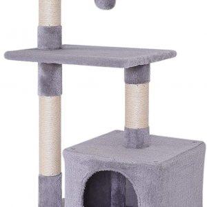Arbre à chat gris clair avec griffoir et centre d'activités
