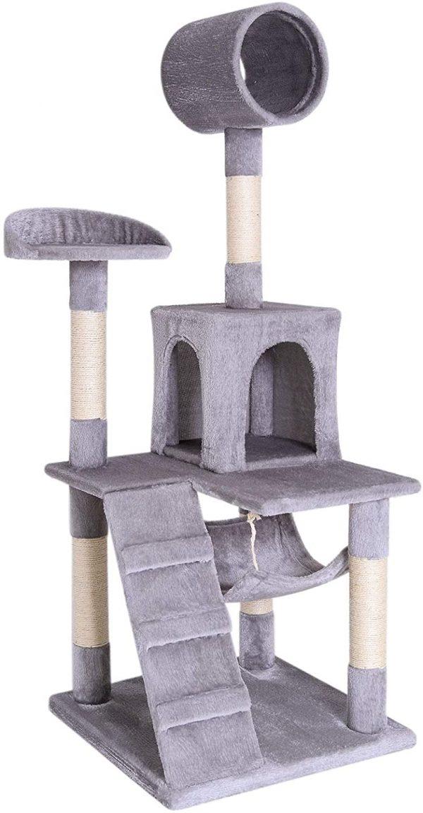 Arbre à chat Gris clair avec hamac tuyau niche et échelle 133 cm