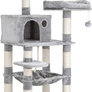 Arbre à chat gris clair avec niche 143 cm