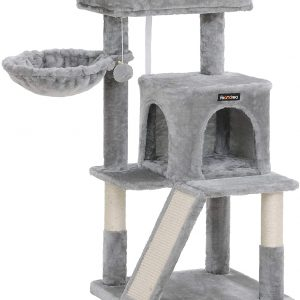 Arbre à Chat gris clair avec planche à gratter coussin et niche