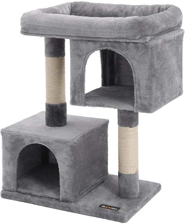 Arbre à chat gris clair en sisal 2 niches pour félins d'intérieur