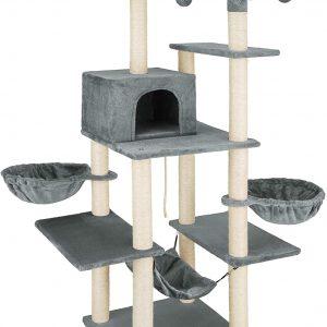 Arbre à chat gris foncé Griffoir Grattoir avec hamac et balles suspendues 165cm