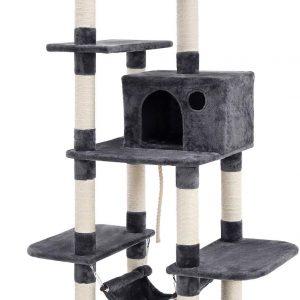 Arbre à chat Gris foncé Multi-Niveaux, Grande capacité, Griffoir, Niches 154 cm
