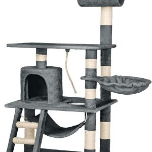Arbre à chat gris géant avec hamac et tunnel échelle et tour d'observation 141 cm