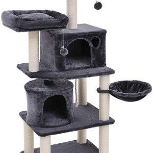 Arbre à chat gris grande capacité multi-niveaux avec 2 niches hauteur 152 cm