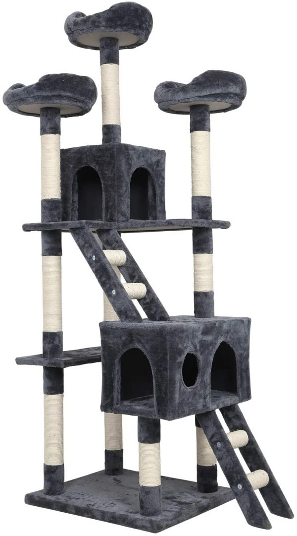 Arbre à chat gris Grande Taille 3 Plateformes 2 Échelle Hauteur 180cm