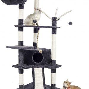 Arbre à chat gris grande taille 6 niveaux avec jouet Hauteur 168cm