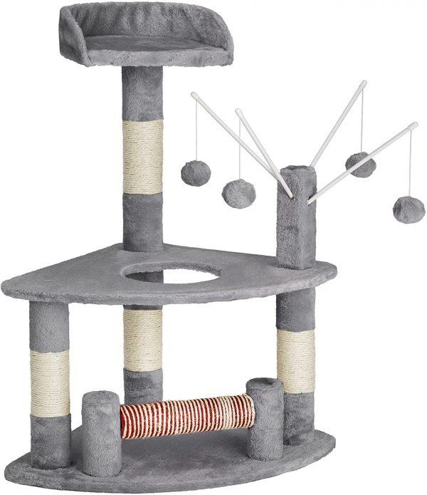 Arbre à chat gris griffoir et Centre d'activités 90cm