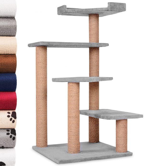 Arbre à chat gris griffoir fibre de coco avec 4 planches 100 cm