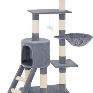 Arbre à chat gris griffoir grattoir en sisal avec hamac 1 niche et 1 hamac