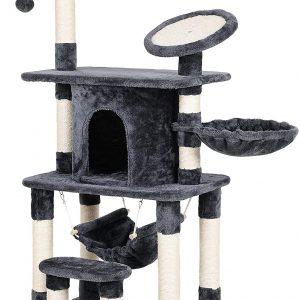 Arbre à chat gris multi-niveaux, Rond en Sisal avec Rebord