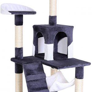 Arbre à chat Gris/Blanc avec jeux 133 cm