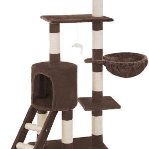 Arbre à chat marron Griffoir Grattoir avec échelle et 3 jouets suspendus