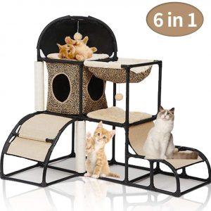 Arbre à chat marron multi-niveaux avec griffoir et centre d'activités 110 cm