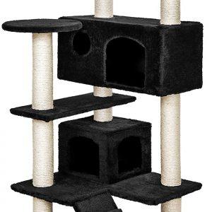 Arbre à chat noir 131cm pour chats d'intérieur