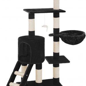 Arbre à chat noir avec griffoir et grattoir