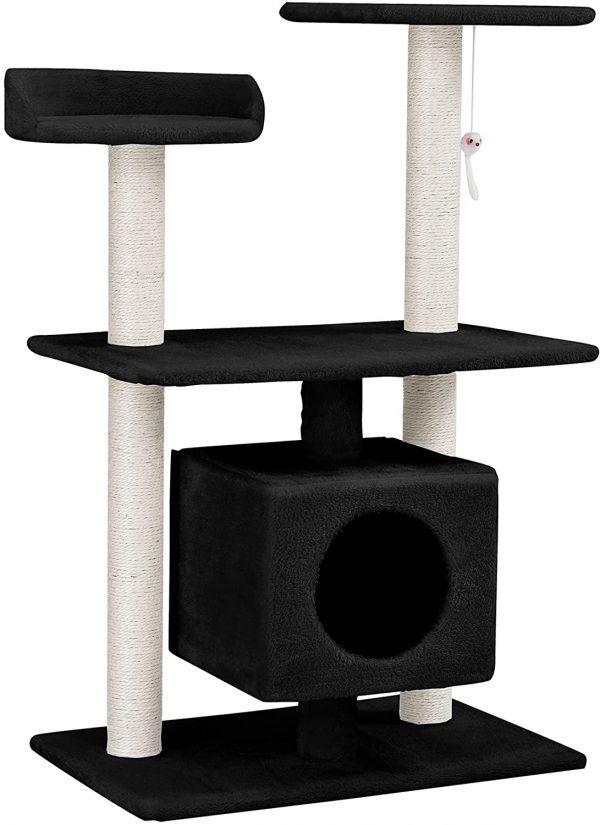 Arbre à chat noir et blanc en sisal avec niche et plates-formes 95 cm