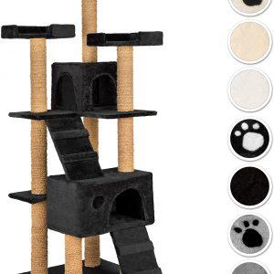 Arbre à chat noir griffoir corde de coco 169 cm 2 Grottes 3 Plateformes
