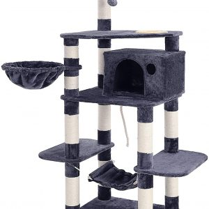 Arbre à chat Stable Gris Anthracite Tour de Jeux 164 cm
