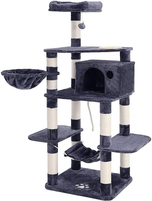 Arbre à chat Stable Gris Anthracite Tour de Jeux 164 cm