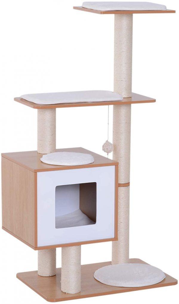 Arbre à chats design contemporain hêtre clair en sisal naturel 120 cm