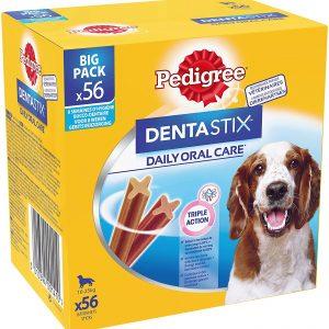 Friandises pour chien moyen 56 bâtonnets à mâcher pour l'hygiène bucco-dentaire Pedigree Dentastix