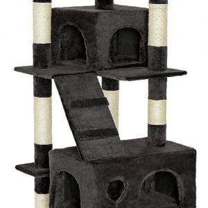 Grand Arbre à chat noir pour plusieurs chats 170 cm